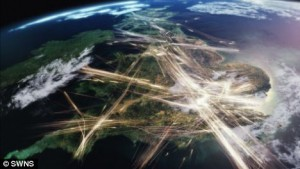 UK air traffic, seen from space